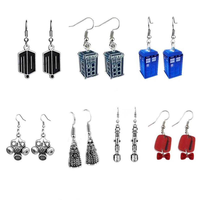 Fashion Doctor Who Earrings Blue Tardis Dangle DALEK EARRINGS Sonic Screwdriver Dropshipping