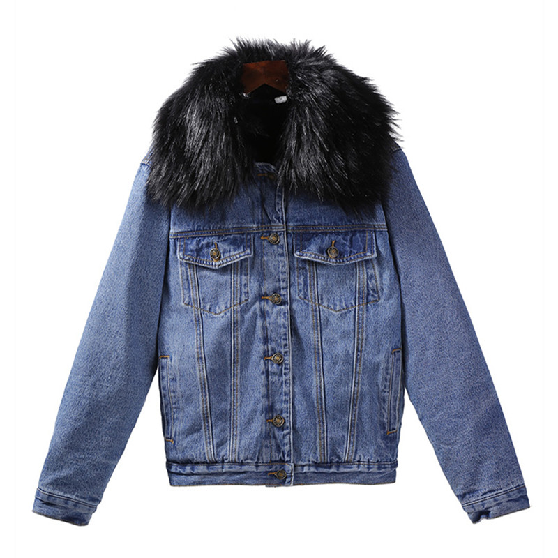 Lambswool Thicken Fur Collar Denim Jacket Women Spring Warm Jean Jackets Lady Coat Long Sleeve Loose Windbreaker Female Clothing