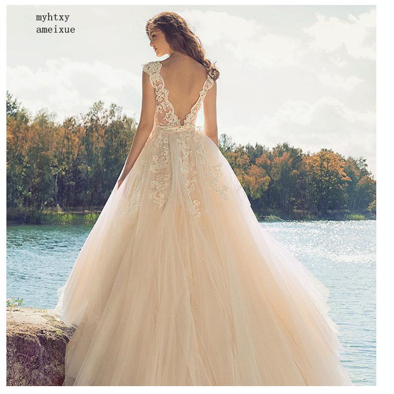 New Arrival Cheap Wedding Dress 2019 Champagne Lace A-line Vestido De Novia Playa Simple Bridal Gown Custom Made Trouwjurk