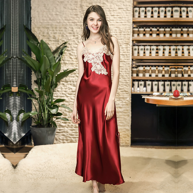 Perfering   Nightgown   Women Sleepwear   Sleepshirts   Long Dress Sexy Lingerie Lace Babydoll High Quality Satin Lace Long Gown Women