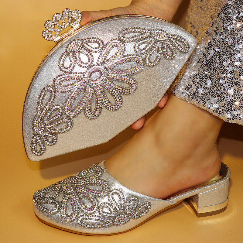 Silver New Design African Women Shoes And Bag Sets With Rhinestones Pumps Italian Shoes With Matching Bags For Evening Party