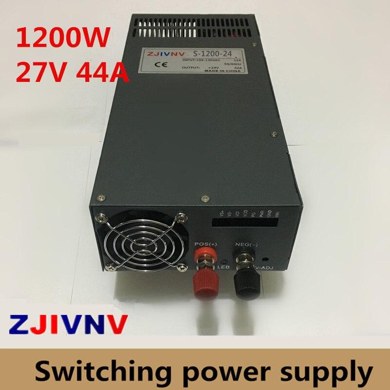 Potencia de conmutación fuente de alimentación DC 27 V 44A 1200 W conmutación interruptor transformador conductor 220 V AC DC27V SMPS para Industrial equipo de la máquina