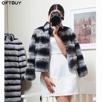 OFTBUY 2019 натуральный кролик рекс пальто из настоящего меха Мех животных пальто зимняя куртка для женщин Стенд воротник Толстая теплая верхня