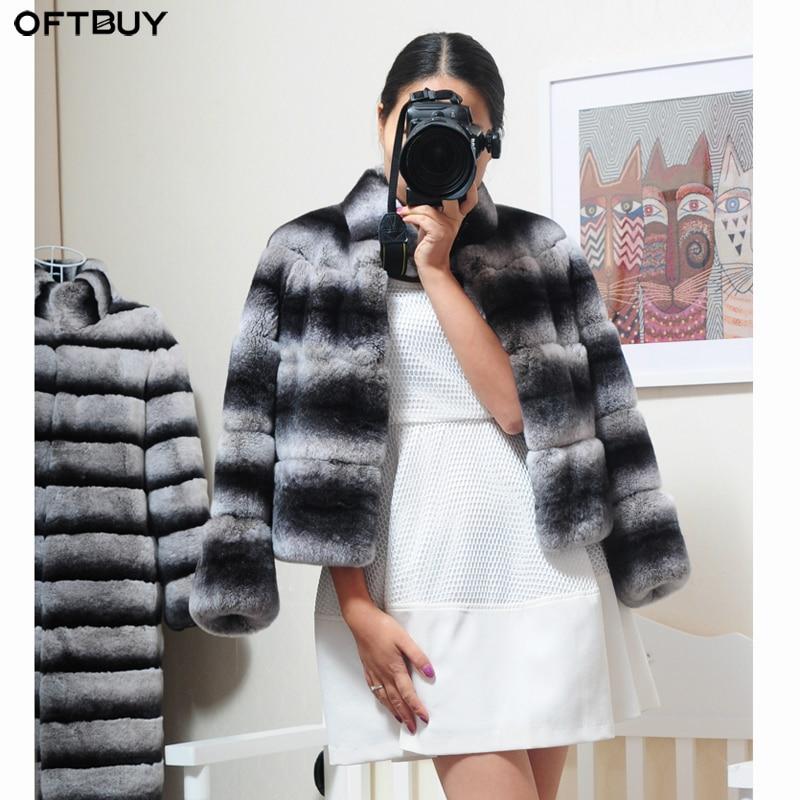 OFTBUY 2019 Natural Rex Rabbit Fur Coat Real Fur Coat Winter Jacket Women Stand Collar Thick Warm Outerwear Streetwear Casual