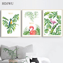 Nordic Art Home Decor Canvas Painting  Hand painted watercolor flamingo Plant Printing Wall Poster for Living Room AJ0060