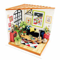 Robotime Home Decor Figurine DIY Sitting Room Wood Miniature Doll House Modern Home Decoration Dollhouse Gift for Children DG106
