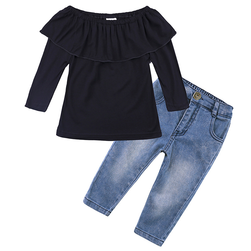 Fashion Children Clothing 2018 Summer Baby Girls Clothes Long Sleeve Black T-shirt +Denim Pants 2pcs Suit kids clothes 2017 fashion flare sleeve summer style teen girls t shirt black hole pants 2pcs suit children clothing sets fc003