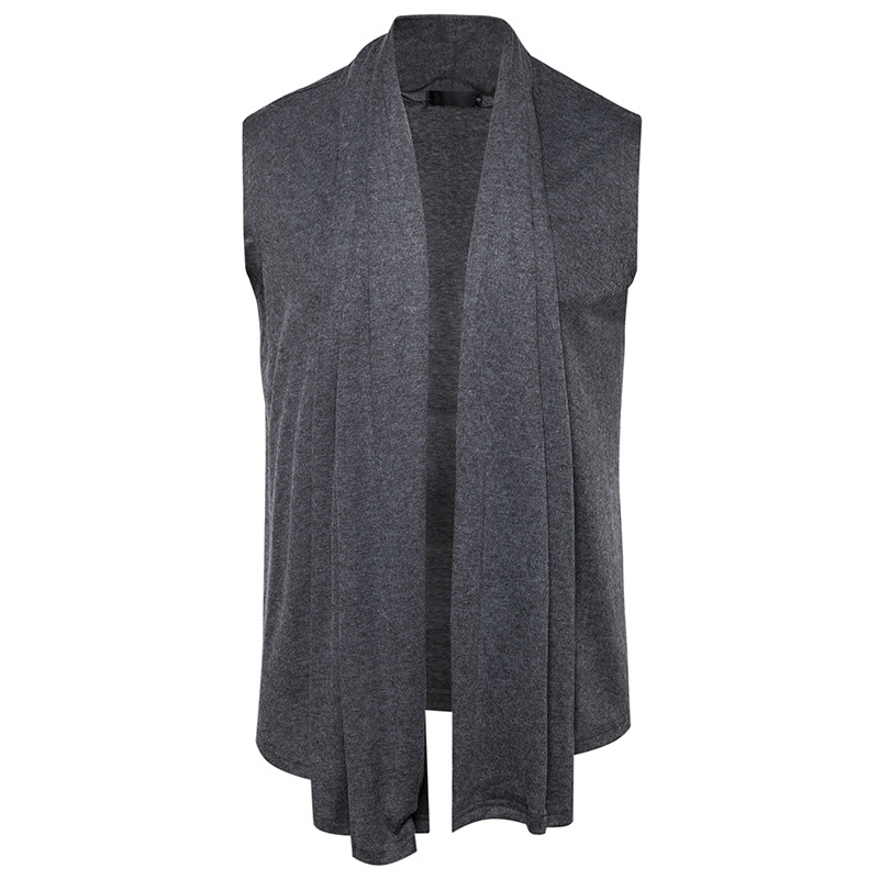 European new men's sleeveless sweater cardigan Y45 buckle trend ...