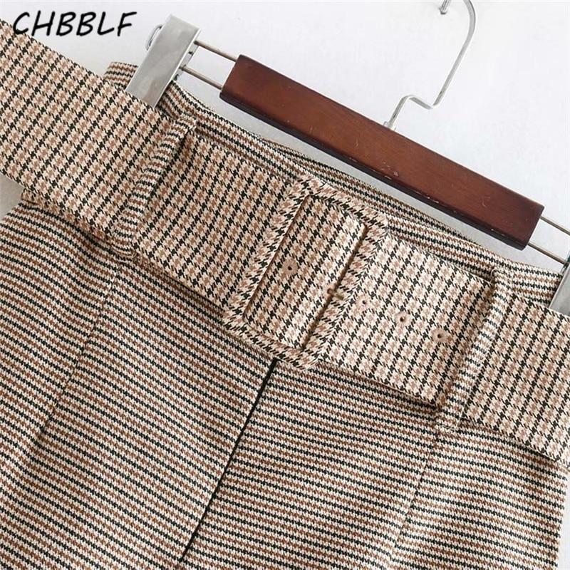 CHBBLF women basic plaid midi skirt split faldas mujer Houndstooth pattern office lady casual sashes skirts BGB8538