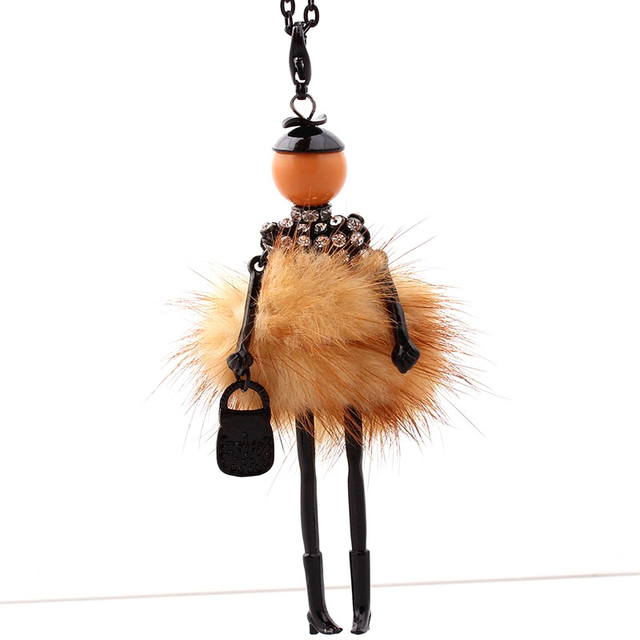 Fur Girl Doll Pendant with Long Necklace