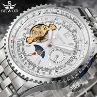 Tourbillon Automatic Mechanical Watch Men SEWOR Top Brand Luxury Sport Military Watch Stainless Steel Watch Relogio Masculino