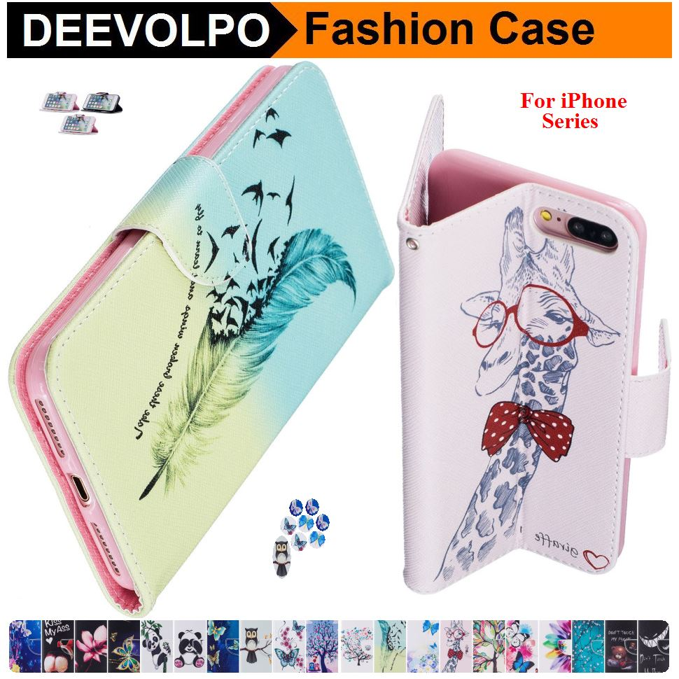 DEEVOLPO PU Leather Phone Bags For Apple iPhone X (10) Pattern Magnetic Book Cases For iPhone 7Plus 8Plus 8+ 7+ Card Slot DP07H