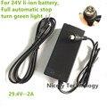 29.4V2A carregador 29.4 V 2A carregador para 24 V bateria de lítio bicicleta elétrica da bateria de lítio pack Plug RCA conector 29.4V2A carregador