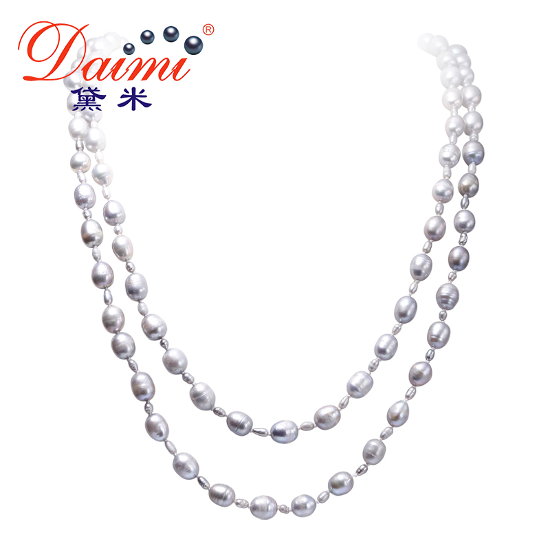 [DAIMI] Grey Color Pearl Necklace 160cm Long Sweater Chain Natural Pearl Long Necklace 8-9mm Rice Pearl Beach Style 2017 New light grey simple long sleeves sweater