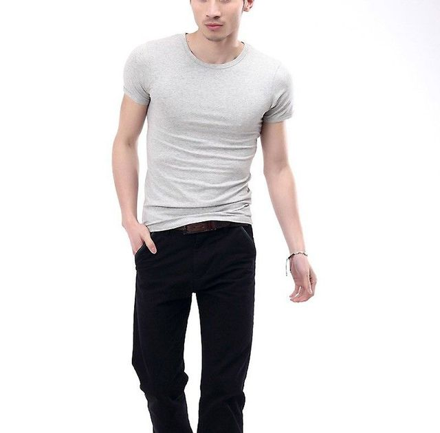 fba7fe657a59ac Men Slim Fit O-neck Crew Neck Cotton T shirt Short Sleeve Plain Muscle Tee  Top Black White Casual Shirts