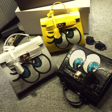 Fashion New 2016 designers Cute Big eyes sequins Girls small shoulder bag women crossbody messenger bags bolsa feminina handbag