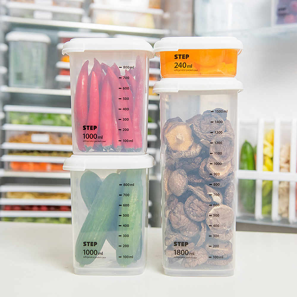1pcs פלסטיק אטום פחיות אחסון תיבת צנצנת שקוף מיכל כוס מדידה מטבח תיבת אחסון מזון מיכל לשמור טרי צנצנת