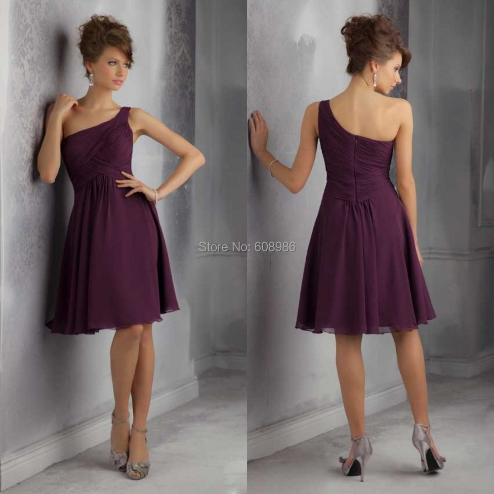 Bridesmaid dresses chiffon one shoulder cheap under 50 for Cheap wedding dress under 50
