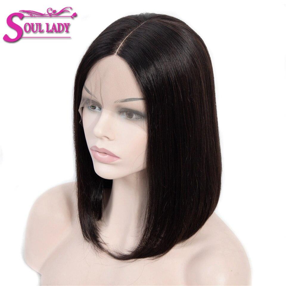 Perruques de Bob humain avant de dentelle de cheveux de dame d'âme pré plumées avec des cheveux de bébé perruques de cheveux humains Remy droites péruviennes courtes pour les femmes noires