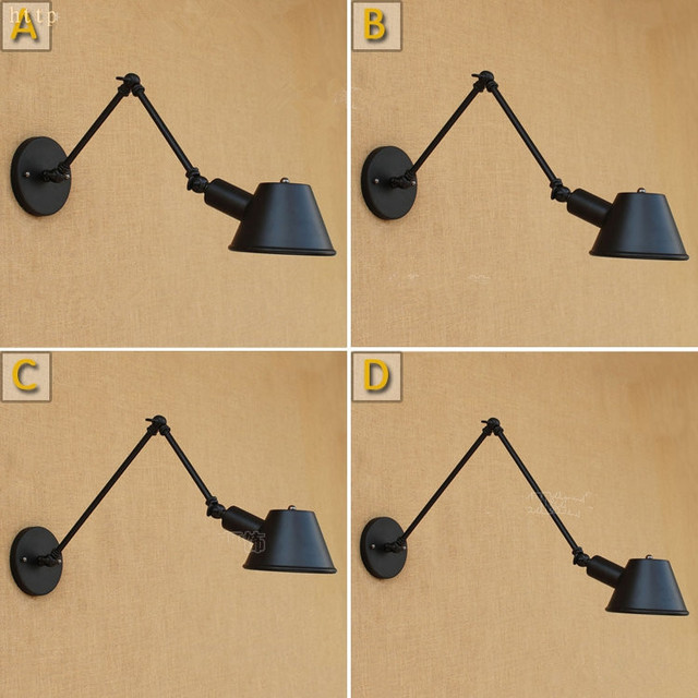 Black Swing Long Arm Wall Light Fixtures Loft Style Industrial Lights LED Edison Vintage Wall Lamp Sconce Appliques Pared