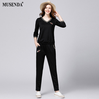 MUSENDA Plus 5XL Size Women Appliques Three Quarter Sleeve Top Elastic Waist Pants 2017 Autumn Lady
