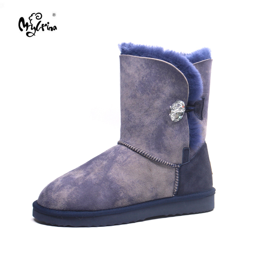 Top Quality New Genuine Sheepskin Leather Snow Boots Natural Fur Botas Mujer Fashion Waterproof Non-Slip Real Wool Women Shoes top quality 2018 new fashion 100% genuine sheepskin leather snow boots natural fur mujer botas warm wool non slip winter shoes