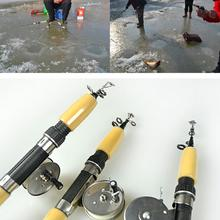 75cm 3 Section Portable Winter Ice Fishing Rod Fish Tackle Pole Mini Carbon Telescopic Fish Rods With Fishing reel
