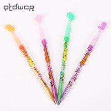 Милый мультяшный животный узор пластиковый карандаш может нажать заменить заправку Стандартные Карандаши ручка для детей корейские канцелярские принадлежности