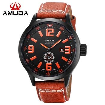 mens watch AMUDA brand watches man watches quartz genuine leather waterproof mens wristwatches calendar week brown black