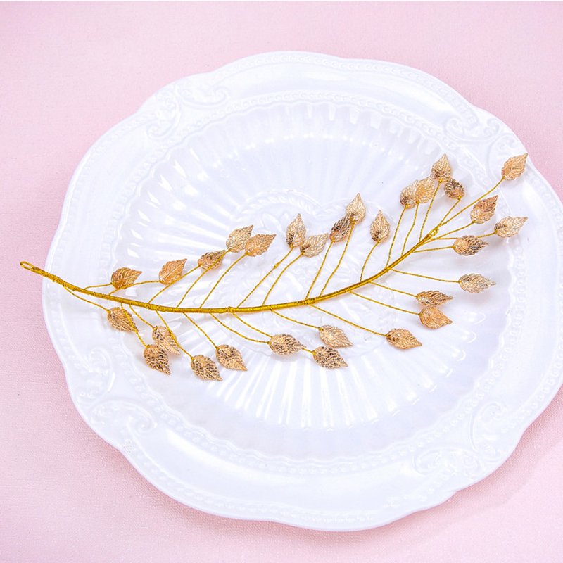 HIMSTORY Vintage Handmade Sweety Gold Leaves Hair Accessory Bridal Wedding Party Hair Decoration Headpiece in Hair Jewelry from Jewelry Accessories