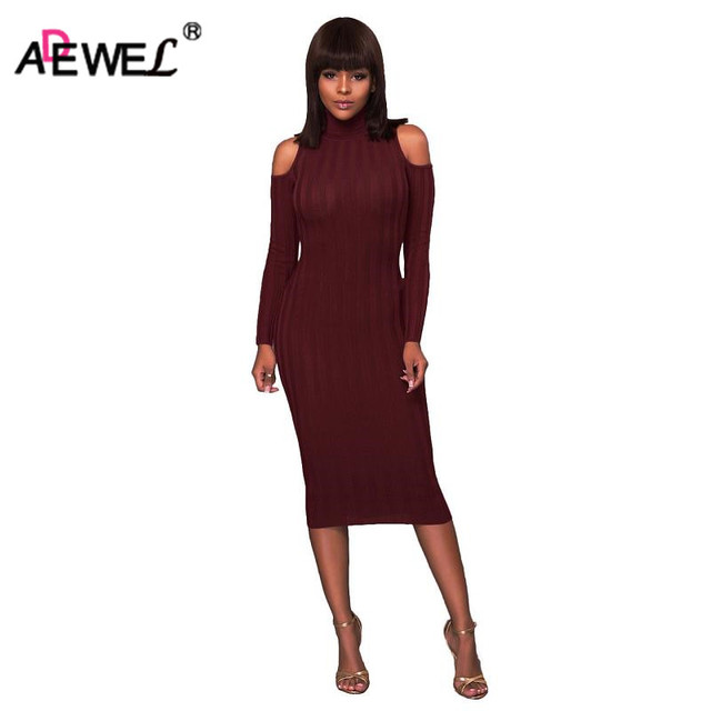 ADEWEL 2019 Autumn Cold Shoulder Long Sleeve Knitted Dress Women Sexy Bodycon Elegant High Neck Party Dresses Winter Inner Wear