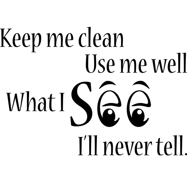 Free Shipping Keep Me Clean Toilet Bathroom Word Saying Vinyl Decal Sticker , Funny Bathroom