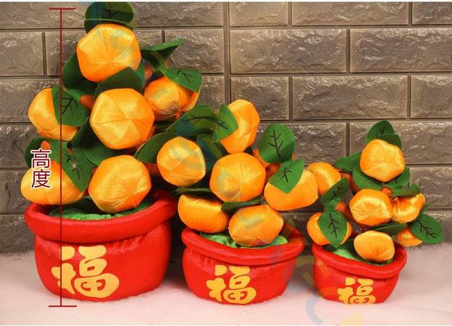 chinese new year spring festive potted plants fortuna mascot flower ornament party favor home table art