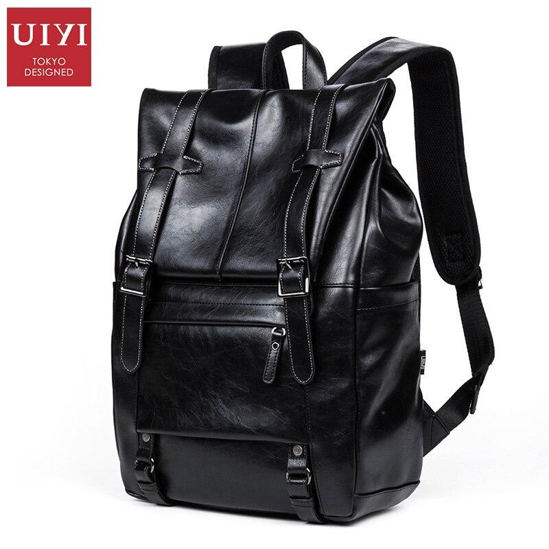 ФОТО UIYI PVC Men Backpack Bag  High Quality Black Leather School Backpacks For Teenager Bag School #UYB6034