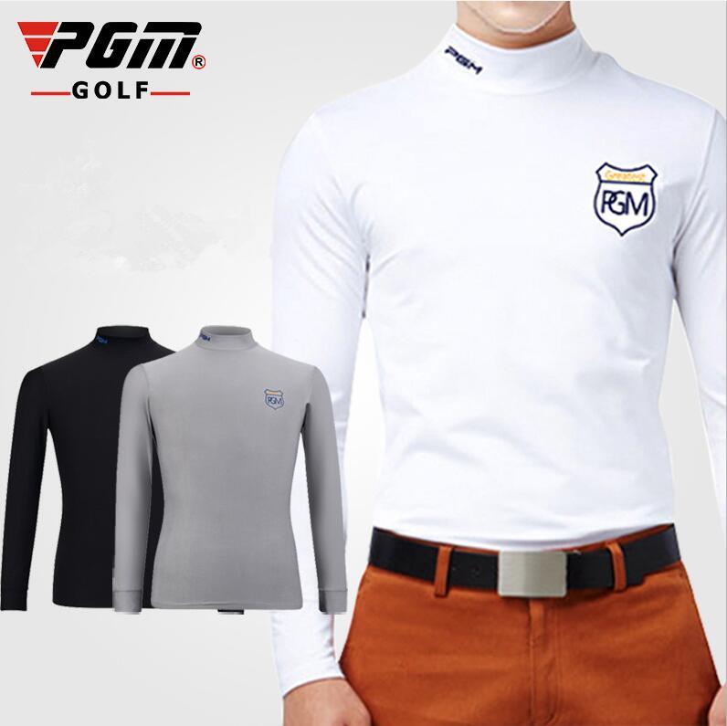 PGM Mens golf Milk silk T-shirt Long-sleeved Elastic soft golf bottoming shirt Spring Autumn Winter Warm Golf Shirts