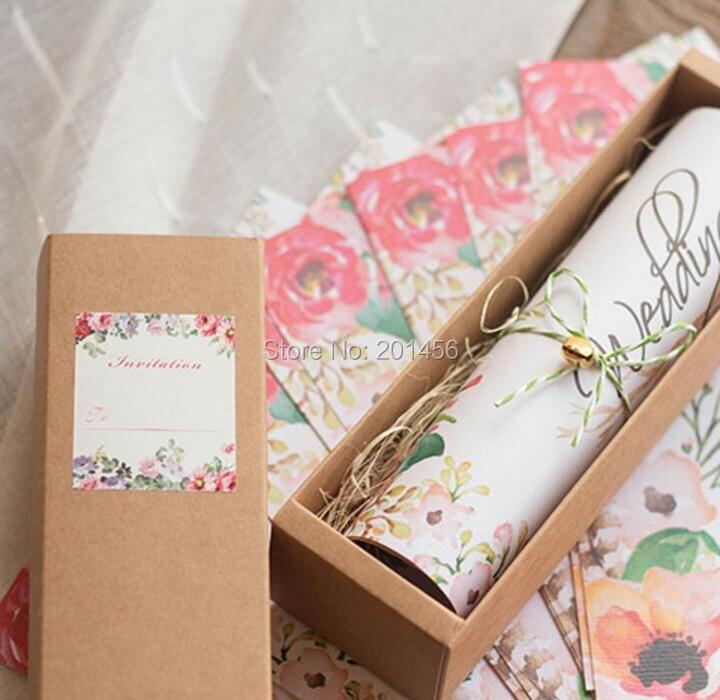 50 Free Personalized U0026 Customised Printing Kraft Box Scroll Wedding  Invitations Card BT09, Free Shipping