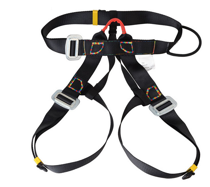 Outdoor climbing harness high quality safety equipment climbing belt bust safety belt waist use safety belts black GM1412 25kn professional carabiner d shape safety master lock outdoor rock climbing buckle equipment
