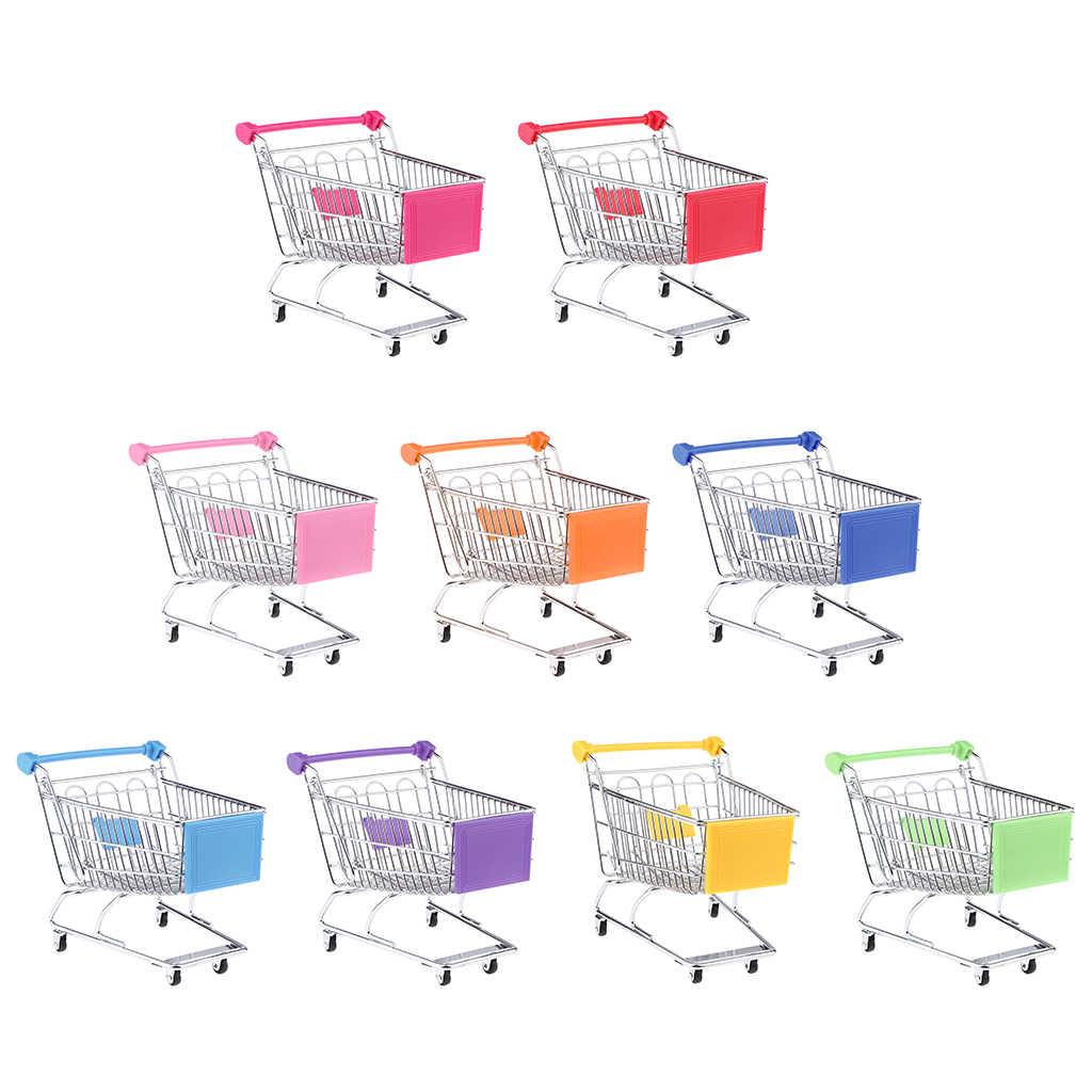 Multi Warna Gerobak Simulasi Mini Supermarket Shopping Cart Utilitas Keranjang Anak-anak Berpura-pura Bermain Mainan Hadiah