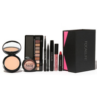 8Pcs Makeup Suit For FOCALLURE Essential For Beginners brow pens+eyeshadow+powder+lip+eyeliner+mascara+blush+lip gloss hot sale