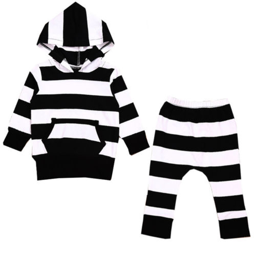 0 to 2Y toddler Newborn Baby Girls Boys striped Hooded Sweatshirt Tops and Pant Set Clothes Kid Outfits Hoodies set