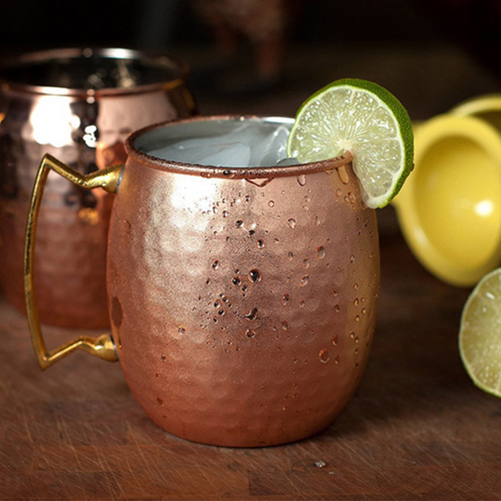 2 Pcs 530ml Stainless Steel Copper Plating Hammered Drum Style Moscow Mule Beverage Mug with Handle
