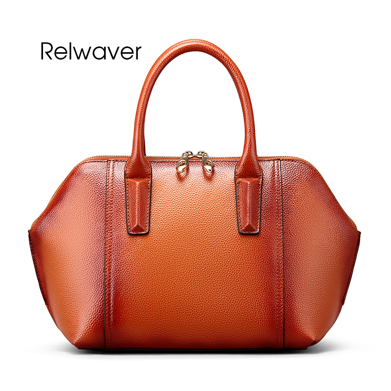 Relwaver genuine leather handbag tote bag real leather head layer cowhide women leather handbags women's shoulder bag women bag