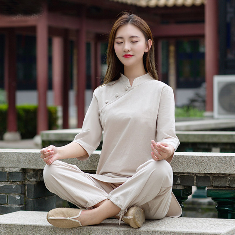 Women's Summer Cotton and Linen Yoga Clothing Fitness Yoga Meditation Clothes Two piece Plus size Sportswear Running clothing