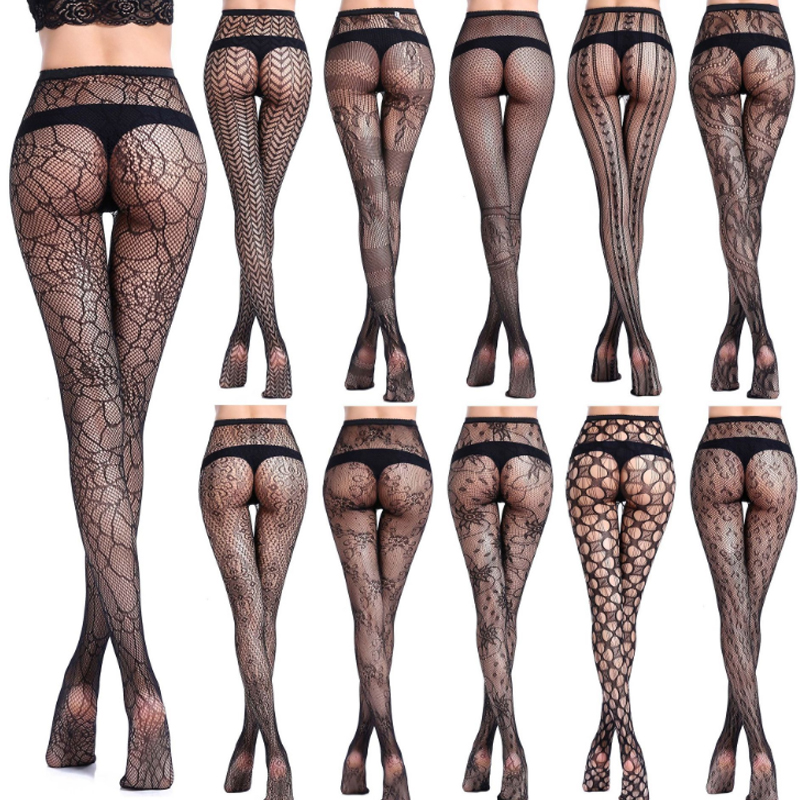 cd763fcea26 Fashion 1 Pair Women Net Pantyhose Sexy Fishnet Black Stockings Transparent  Printing Pattern Hollow Out Tights