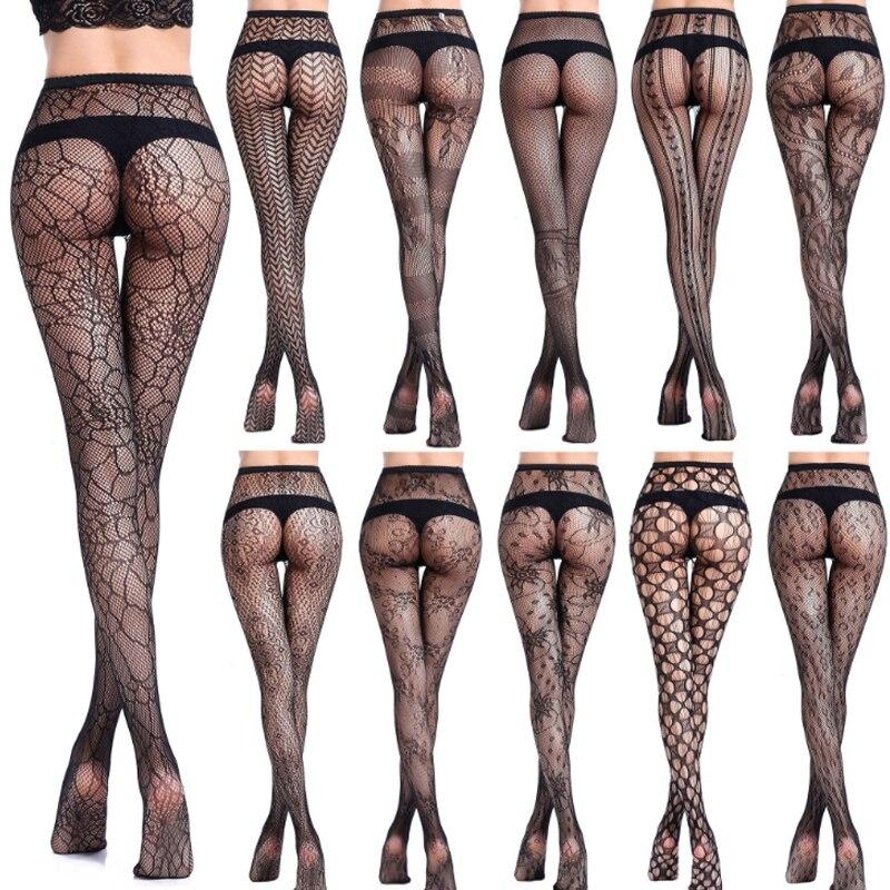 766b723e3 Moda 1 par Mulheres Net Meia-calça Arrastão Sexy Meias Pretas Transparentes  Meias Padrão de Impressão Escavar Collants Meias