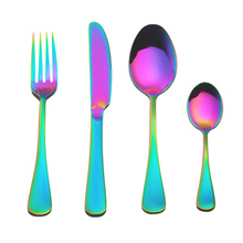 4PCS/Set Stainless Steel Rainbow Cutlery Dinnerware Set Western Food Cutlery Tableware Set Flatware for Dropshipper Accessories