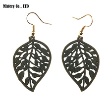 Antique Green Bronze Brass Color Hollow Out Leaf Drop Dangle Earrings Vintage Jewelry For Women Lady vintage solid color hollow out necklace for women