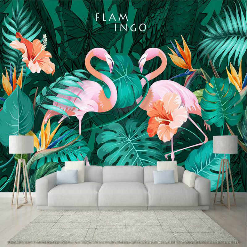 3d Wallpaper Living Room Modern Wallpaper Background Wall Painting Mural Silk Nordic Hand Painted Tropical Flamingo Wallpapers