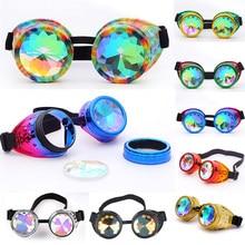 0b2257a48 Hotselling Caleidoscópio Rainbow Cristal Óculos de Lentes de Óculos  Steampunk EDM Gótico Cosplay Óculos Eyewear Do Vintage do Di.
