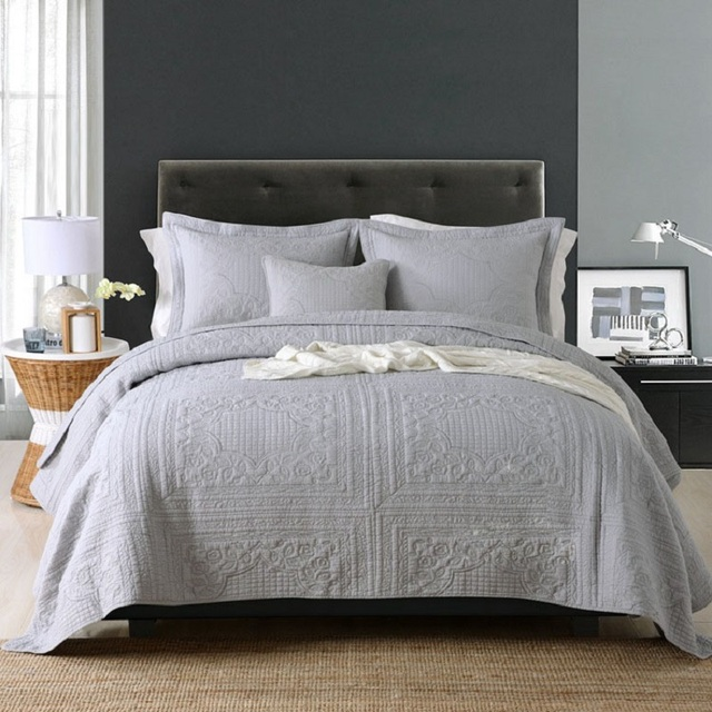 $ US $97.81 CHAUSUB Gray Washed Cotton Quilt Set 3pcs Embroidery Quilts Bed Cover Soft Quilted Bedspread American Coverlet King size 4colors